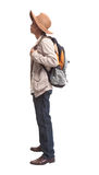 Backpacker in acting on white background Royalty Free Stock Images