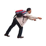 Backpacker in acting on white background Stock Photography