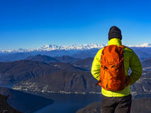 Backpacker in the alps Royalty Free Stock Photos