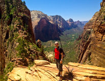 Backpacker in Angels landing Stock Photo