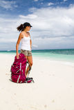 Backpacker on beach Royalty Free Stock Photography