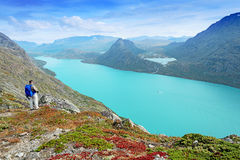 Backpacker at Besseggen ridge at Jotunheimen national park Royalty Free Stock Photography