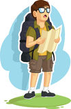 Backpacker Boy Reading Road Map Royalty Free Stock Image