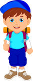 Backpacker boy thumbs up Royalty Free Stock Images
