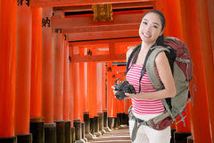 Backpacker with camera Royalty Free Stock Photography