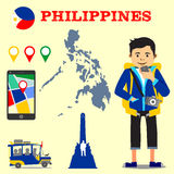 Backpacking destinations Philippines. Backpacker with camera looking at a map using his mobile phone flat design illustration with Philippine jeepney, map pins vector illustration