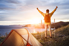 Backpacker in a camp royalty free stock images