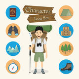 Backpacker character Icon set vector Stock Photography