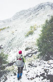 Backpacker climbing Travel Lifestyle adventure Stock Images