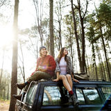 Backpacker Couple Travel Adventure Happiness Concept Royalty Free Stock Photography
