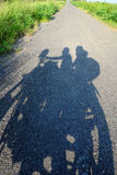 Backpacker couple travel by motorbike royalty free stock photos