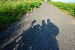 Backpacker couple travel by motorbike royalty free stock images