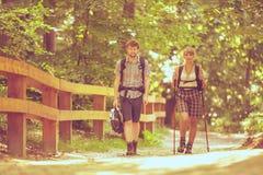 Backpacker de los pares que camina en camino del bosque Fotografía de archivo