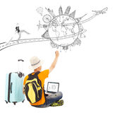 Backpacker draw a travel trip planning. Over white Royalty Free Stock Images