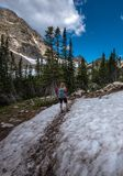 Backpacker entering the Valley near Blue lake Colorado Royalty Free Stock Photography
