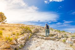 Backpacker explores Inca Trail on Island of the Sun, Titicaca Lake, scenic travel destination in Bolivia. Travel adventures and va