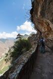 Backpacker exploring Inca Trail at Machu Picchu, Peru Stock Photography