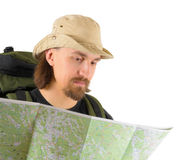Backpacker exploring the map Royalty Free Stock Images