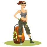 Backpacker femenino joven hermoso Fotografía de archivo