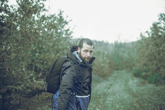 Backpacker in a forest Stock Photos