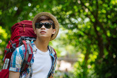 Backpacker in the forest Royalty Free Stock Photography
