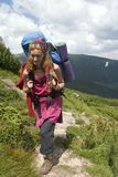 Backpacker girl Stock Images