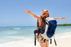 Backpacker girl Royalty Free Stock Images