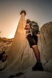 Backpacker Girl exploring Wahweap Hoodoos near Kanab Stock Image
