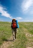 Backpacker girl hiking in crimea mountains Royalty Free Stock Images