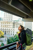 Backpacker girl in Miami Royalty Free Stock Photo