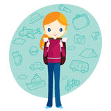 Backpacker girl and travel outline icons background Stock Photography