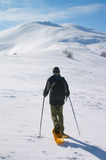 Backpacker going to snow mountain Stock Photography