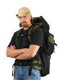 Backpacker in hat Royalty Free Stock Photo
