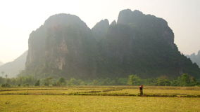 Backpacker heaven,Vang Vieng with limestone mountains,Laos stock footage