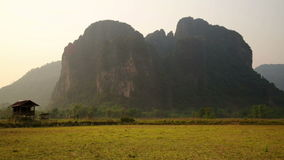 Backpacker heaven,Vang Vieng with limestone mountains,Laos stock video