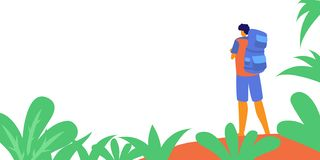 Backpacker, hiker, traveller or explorer standing and looking at nature. Hiking, backpacking, adventure tourism and travel,. Discovery of new horizons. Modern vector illustration