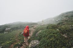 Backpacker Hiking Journey Travel concept with friends. royalty free stock photography