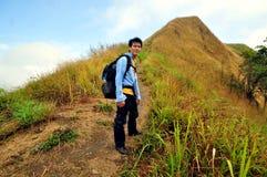 Backpacker hiking Stock Image
