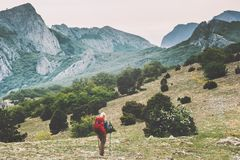 Backpacker hiking in mountains on route Travel Royalty Free Stock Photos