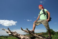 Backpacker hiking in nature stock photography