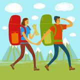 Backpacker illustration Stock Images