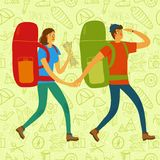 Backpacker illustration Royalty Free Stock Photo