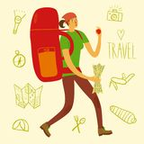 Backpacker illustration. Cartoon traveler girl with a large backpack and doodle drawings including map, flashlight, camera, knife, sleeping bag, tent, compass Royalty Free Stock Images