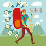 Backpacker illustration Stock Images