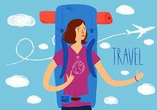 Backpacker illustration Royalty Free Stock Image
