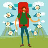 Backpacker illustration Stock Photos