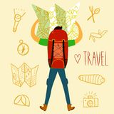 Backpacker illustration. Cartoon traveler holding map with a large backpack and doodle drawings including map, flashlight, camera, knife, sleeping bag, tent Stock Photos