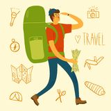 Backpacker illustration. Cartoon traveler with a large backpack and doodle drawings including map, flashlight, camera, knife, sleeping bag, tent, compass Stock Photo