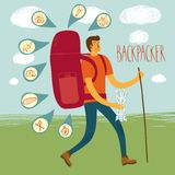 Backpacker illustration. Cartoon traveler with a large backpack and icons including map, flashlight, camera, knife, sleeping bag, tent, compass. Backpacker Royalty Free Stock Photography