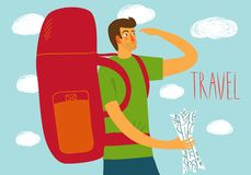 Backpacker illustration. Cartoon traveler with a large backpack and map. Backpacker illustration Royalty Free Stock Images